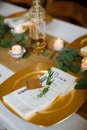 Gold Place Setting with Rosemary Sprig