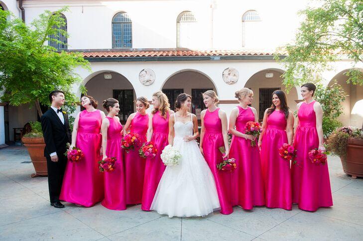 Formal Hot Pink A-Line Bridesmaid Dresses