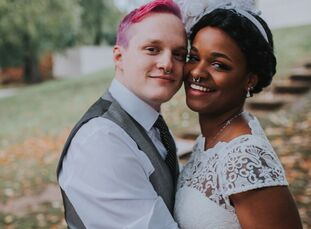 Software engineers Jenna El-Amin (26) and Peter Mueller (27) didn't skimp on color for their DIY wedding at a Columbus campground. With a little creat