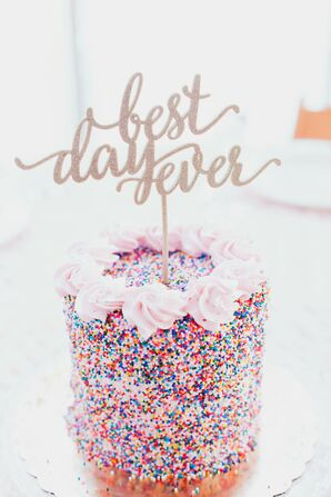 Colorful Single-Tier Cake with Sprinkles