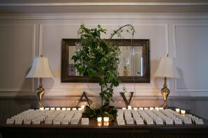 Ivory Escort Cards with Candles