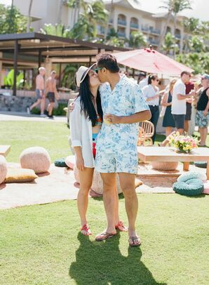 Couple Shares Kiss During Post-Wedding Brunch in Hawaii