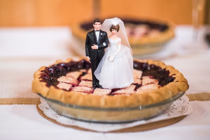 """For dessert, I wanted to bring a touch of Alaska to Montana,"" Kaley says. ""During the summer, Alaska has amazing wild blueberries, which I love to pick. Bernice's Bakery used my Alaska blueberries to make blueberry pie for the reception."""
