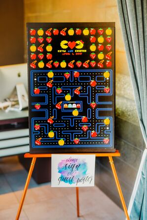 PAC-MAN Guest Book on an Easel