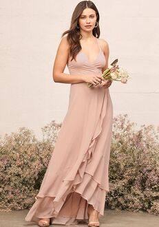Lulus In Love Forever Nude Lace-Up High-Low Maxi Dress V-Neck Bridesmaid Dress