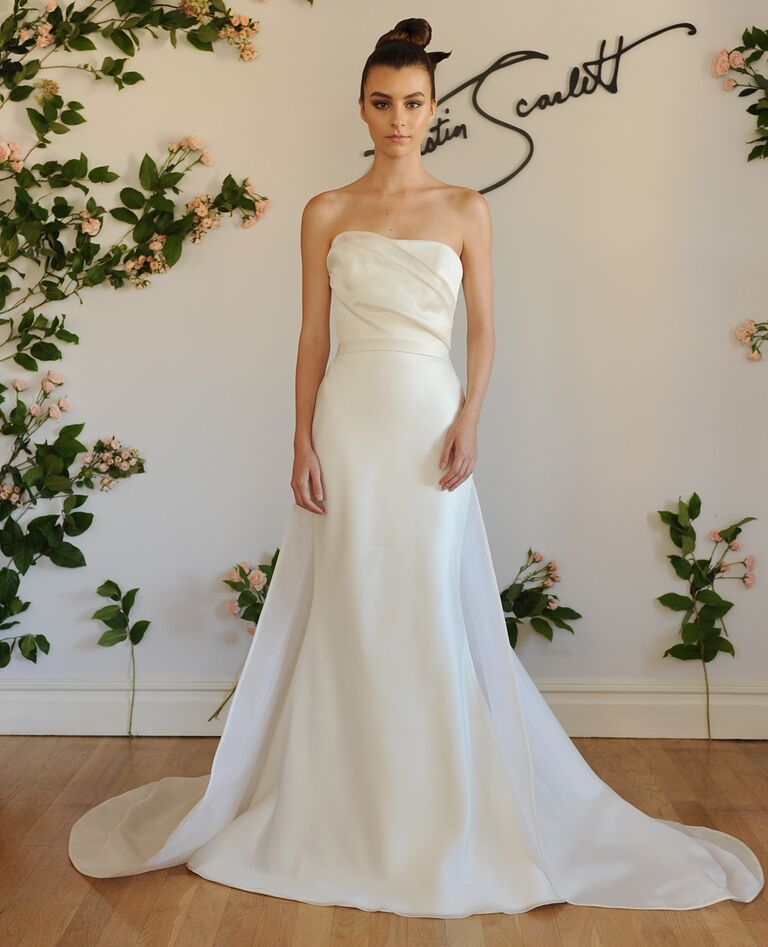 Austin Scarlett Fall 2016 Strapless Sheath Wedding Dress With Detachable  Overskirt And Ruched Bodice