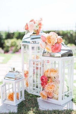 Lantern Ceremony Accents With Coral Flowers