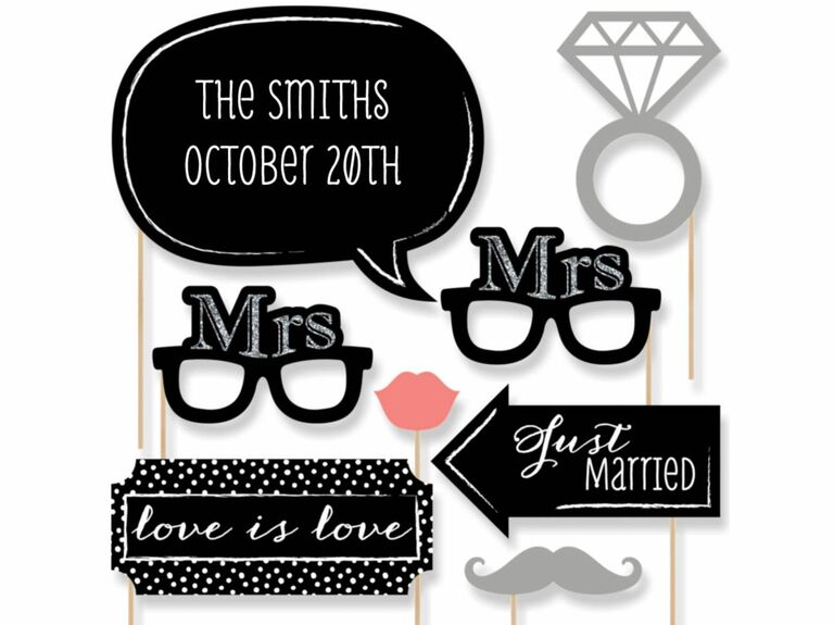 Mrs. and Mrs. wedding photo booth props