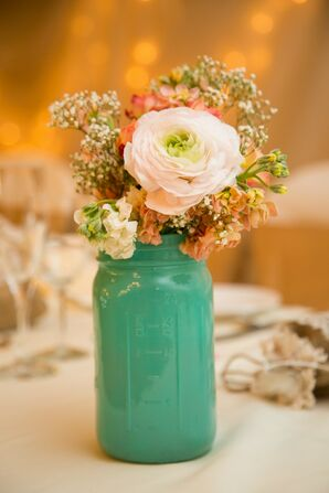 White Ranunculus and Baby's Breath Centerpieces