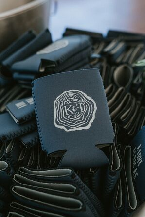 Personalized Koozie Favors with Wood Monogram Illustration
