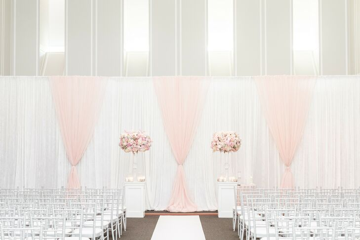 Ceremony with Pink and White Draping at The University of Maryland