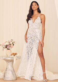 Lulus Love of Details White Lace Backless Maxi Dress A-Line Wedding Dress