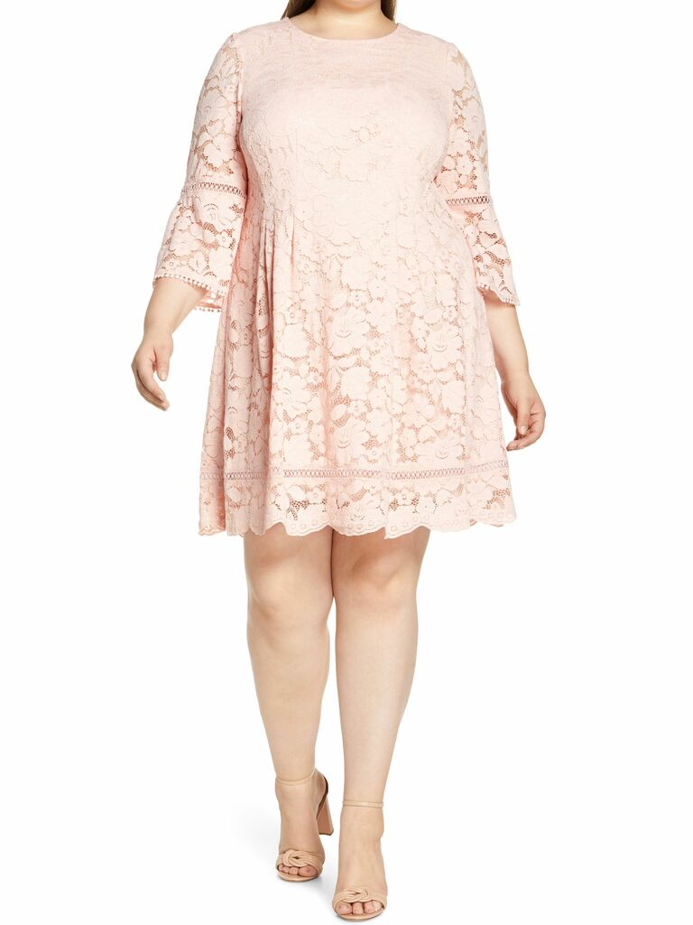blush lace mini dress with bell sleeves