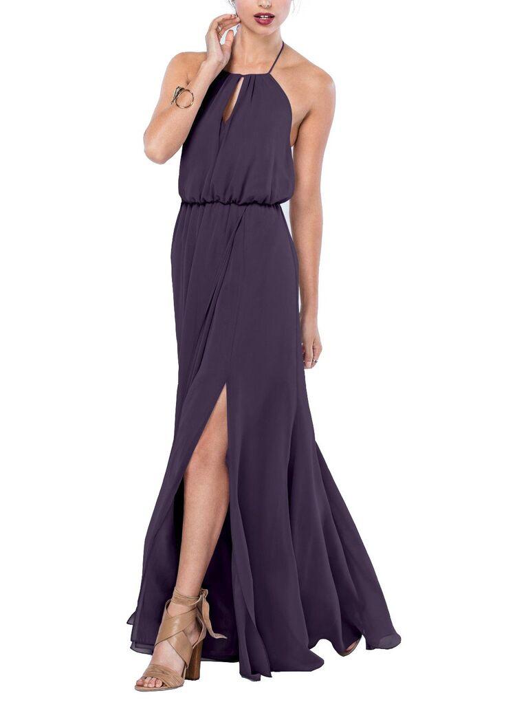 Long plum bridesmaid dress