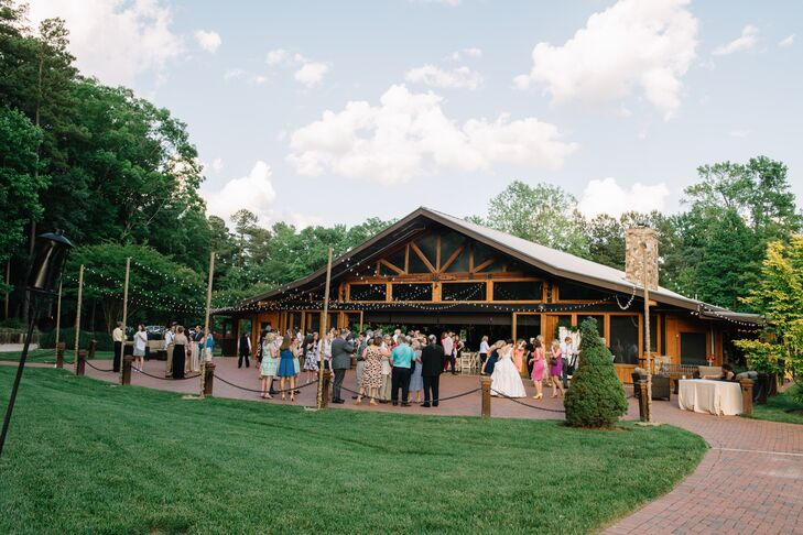 After exchanging vows, Katharine and Nate whisked guests off to The Pavilion for an outdoor cocktail hour. Guests sipped on refreshing drinks and took in the beautiful setting, then made their way into the cozy, lodge-like pavilion for dinner and dancing.