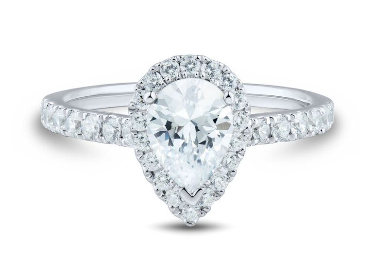 Pear lab grown diamond engagement ring