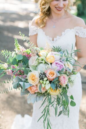 Colorful Garden Rose and Eucalyptus Bouquet