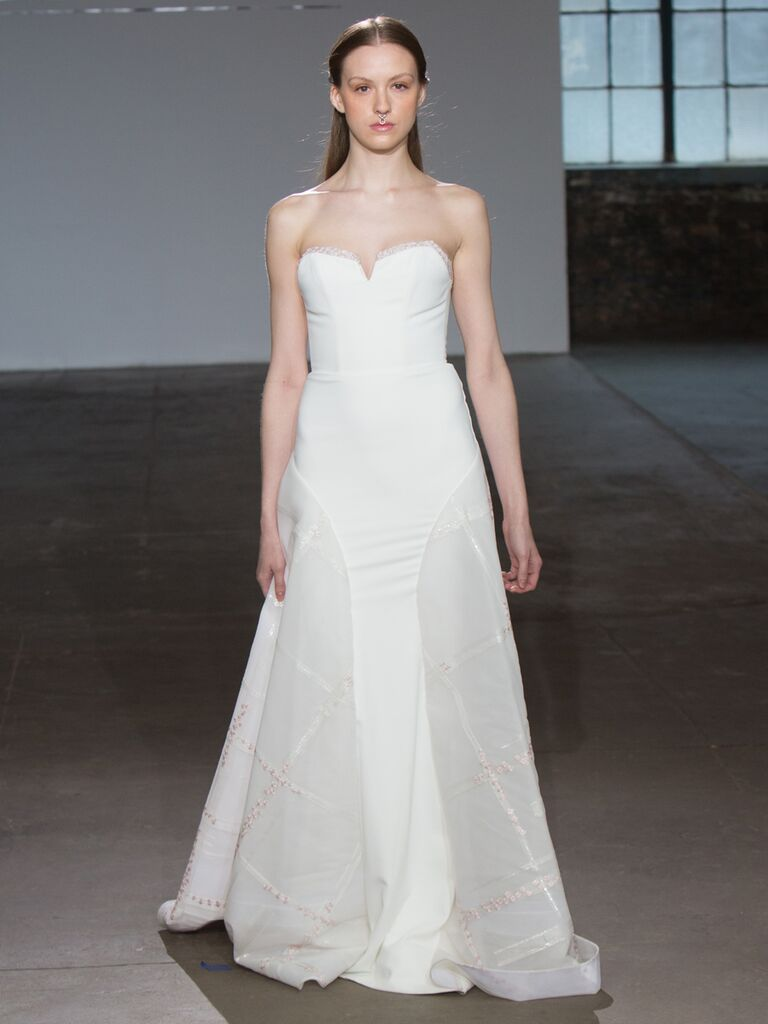 Adam Zohar Spring 2019 Collection strapless modified A-line wedding dress with sweetheart neckline and sheer godet