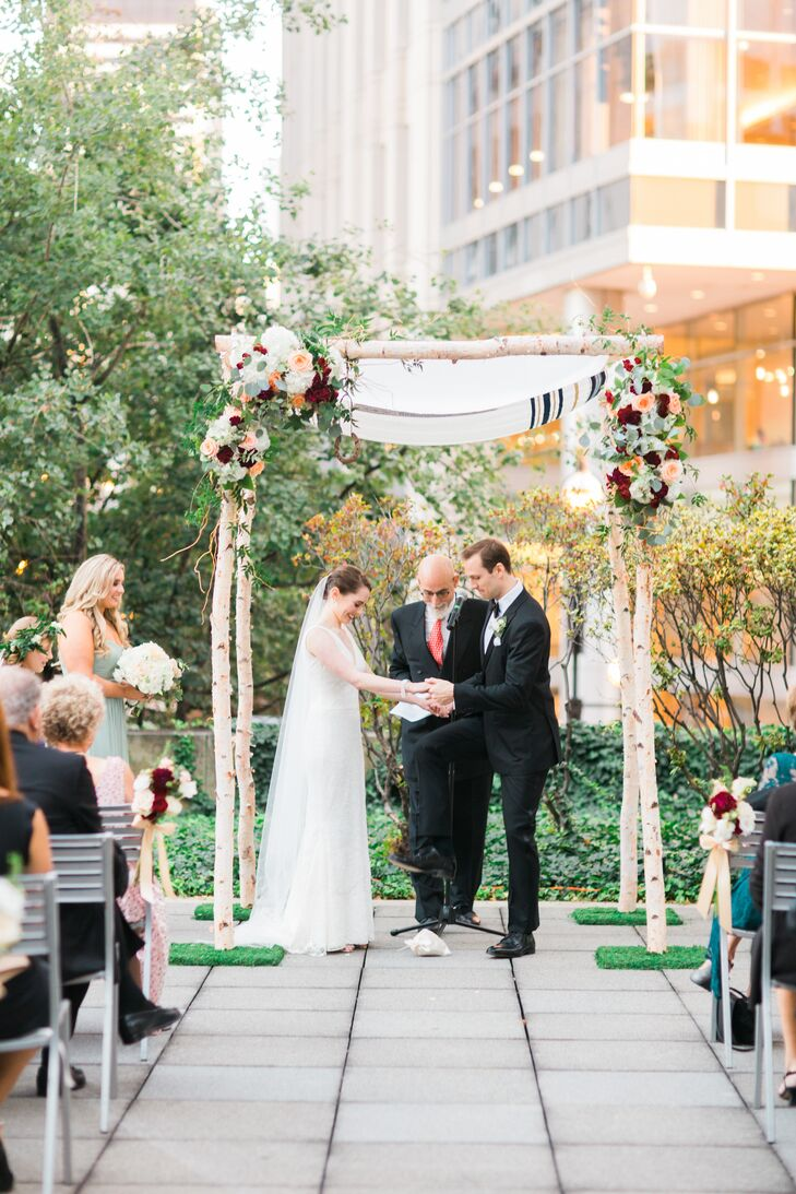 Birch Chuppah with Burgundy and Peach Roses