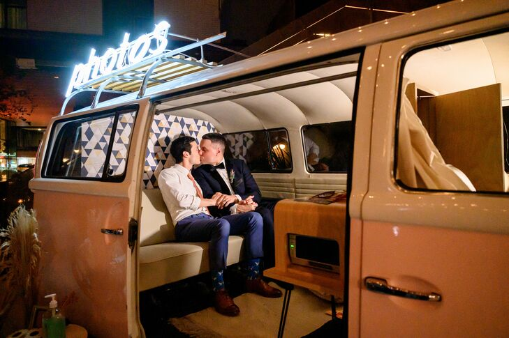 Couple Kissing in VW Bus Photo Booth
