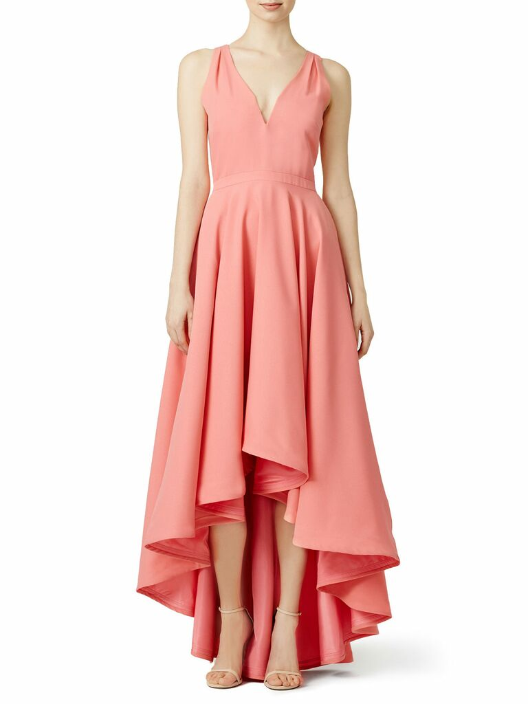 3fcb1c47d5 Coral high-low Allison Parris spring bridesmaid dress