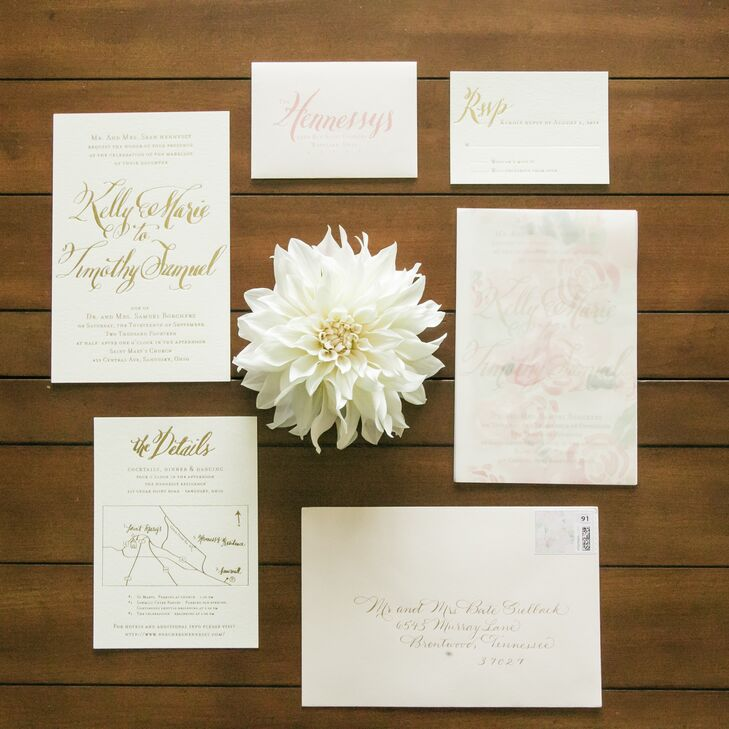 """""""I wanted something different yet classic, so we did cardstock with gold foil script,"""" says Kelly. """" Instead of using the traditional tissue paper, we decided to go with a translucent floral paper insert which Deanna painted herself and made copies of."""""""