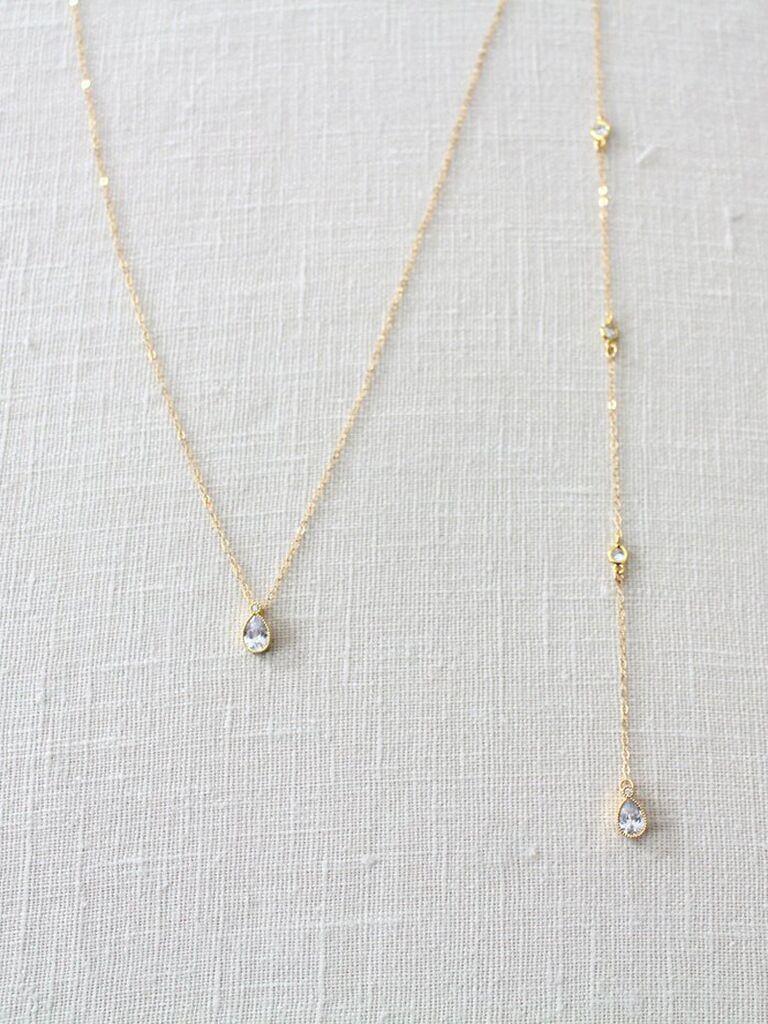 Gold bridal backdrop necklace