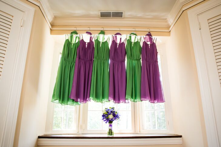 Laurelin's bridesmaid wore tea-length chiffon dresses from David's Bridal in wisteria and clover.