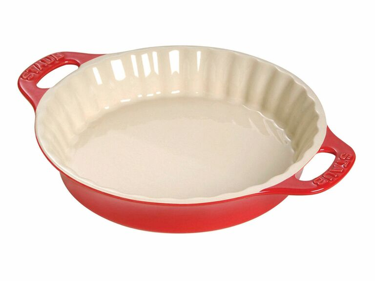 red and white ceramic pie dish