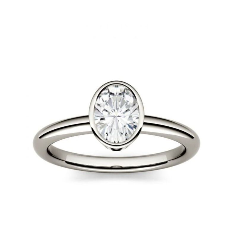 bezel set oval engagement ring