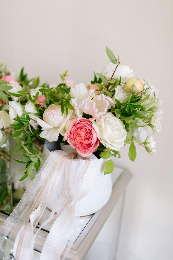 Asymmetrical Green and White Bridal Bouquet