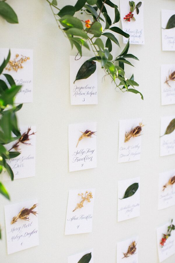 DIY Escort Cards with Leaves