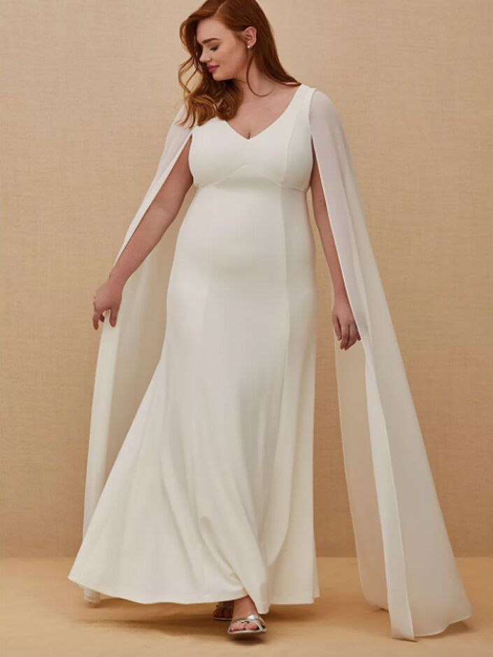 Fit-and-flare wedding dress with chiffon cape