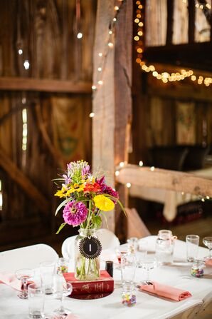 DIY Bright Dahlia and Wildflower Centerpiece