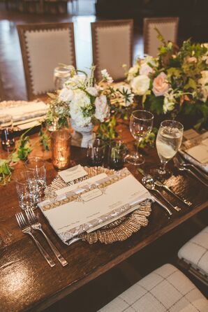Silver Charger and Rustic Elegant Dinnerware at Omni Barton Creek