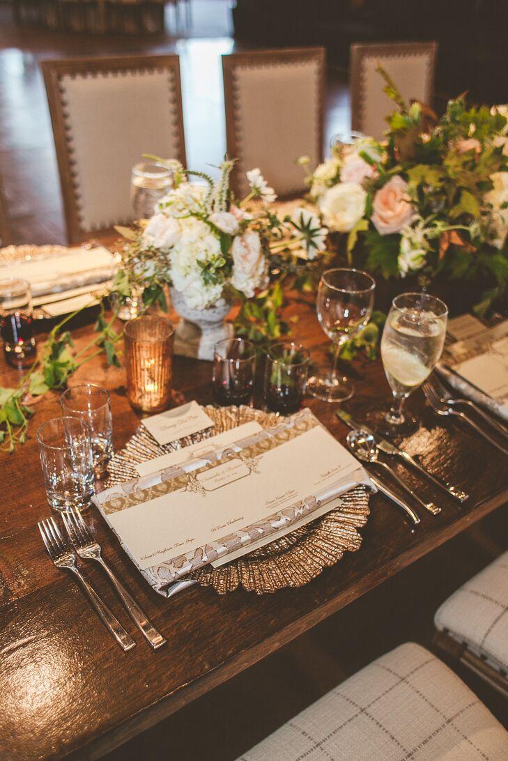 Silver Charger and Rustic Elegant Dinnerware at Omni Barton Creek