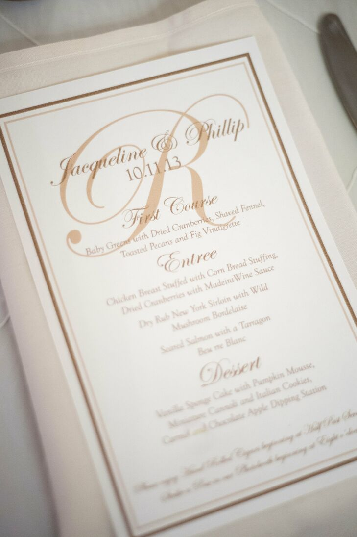 The bride designed the ivory with amber type menu cards and displayed them on top of the place settings.