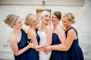 Blue Alfred Sung Cocktail Bridesmaid Dresses