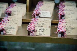 Escort Cards Tied to Jarred Jam Favors