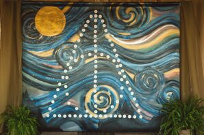 Deathly Symbol Against Starry Night Replica
