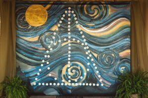 Deathly Symbol Against Starry Night Replica