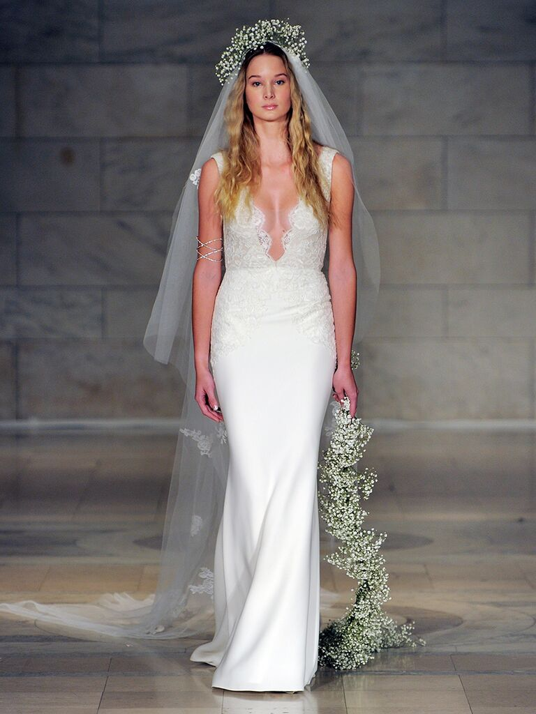 Reem Acra Fall 2018 plunging V-neck crepe wedding dress with embroidery