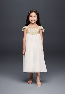 David's Bridal Flower Girl OP240 White Flower Girl Dress