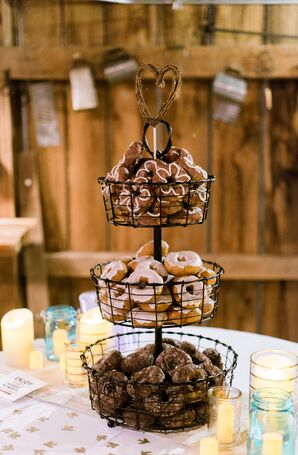 Assorted Doughnuts in Wire Dessert Stand