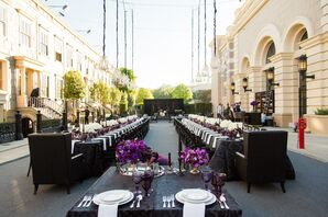Glamorous Black and Purple Banquet Tables