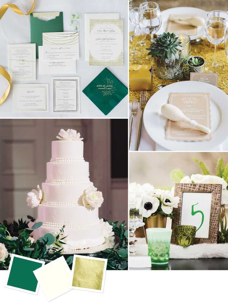 15 wedding color combos youve never seen elegant wedding color combo of emerald and gold junglespirit Image collections
