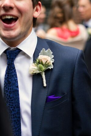 Blush Boutonnieres and Purple Pocket Squares
