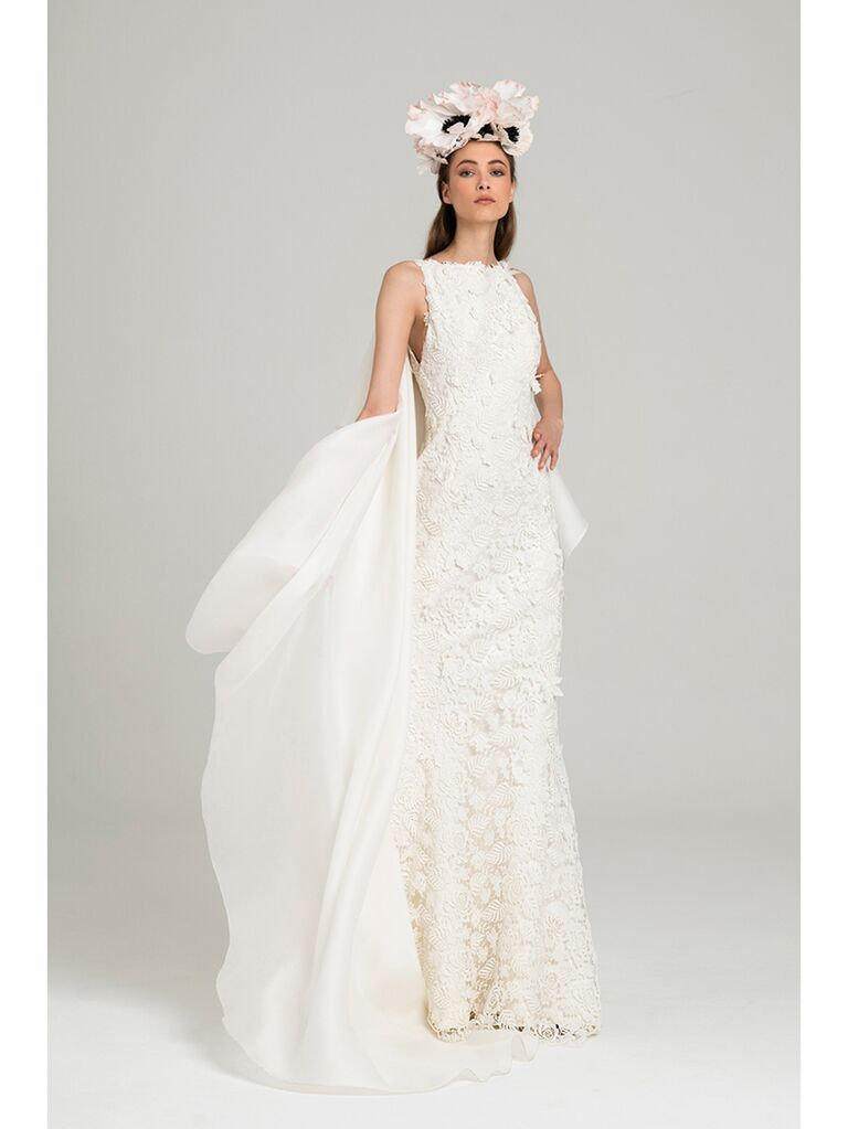Lace Mermaid Wedding Dress with Cape