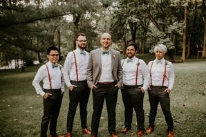 Bohemian Groomsmen in Bright Bow Ties and Red Suspenders