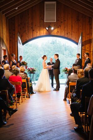 Rustic Barn Loft Ceremony Overlooking Cidery Grounds